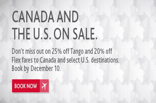 Air Canada Secret Sale Up To 25% off Canada + US Flights Promo Code