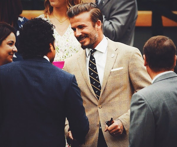 David Beckham brown beige check blazer from Ralph Lauren at Day 6 of 2014 Wimbledon Championship London