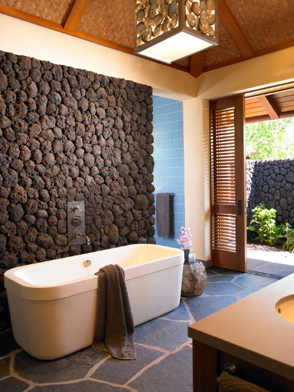 63 Sensational bathrooms with natural stone walls  via onekindesign com. crunchylipstick  63 Sensational bathrooms with natural stone walls