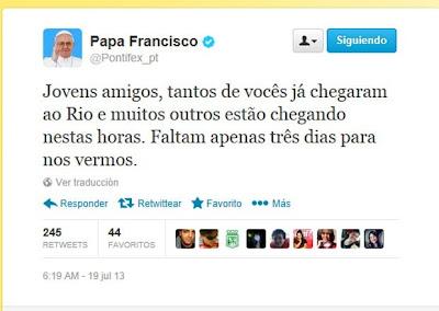 #JMJRio2013: No Twitter, Papa Francisco 'conta os dias' para o início da jornada no Rio