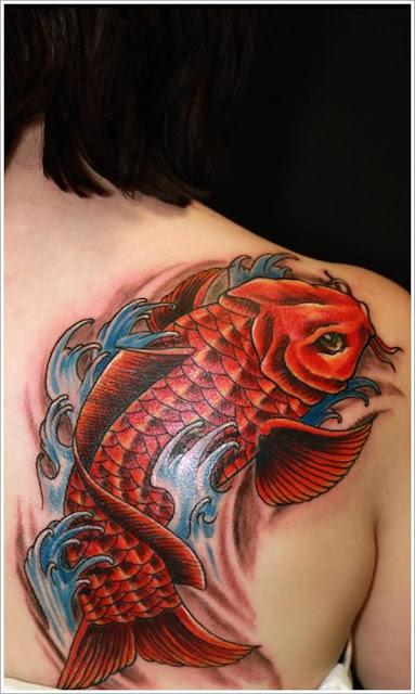 Japanese Red Carp Body Ink Art