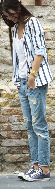Striped blazer, Boyfriend jeans, and Converse_summer