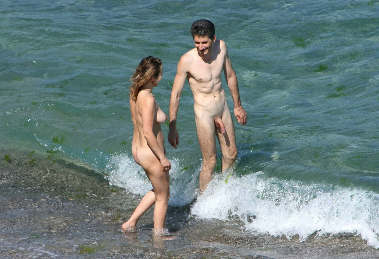 Naked people on nude beach