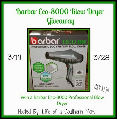 Enter the Barbar Eco-8000 Eco Friendly Blow Dryer Giveaway. Ends 3/28.