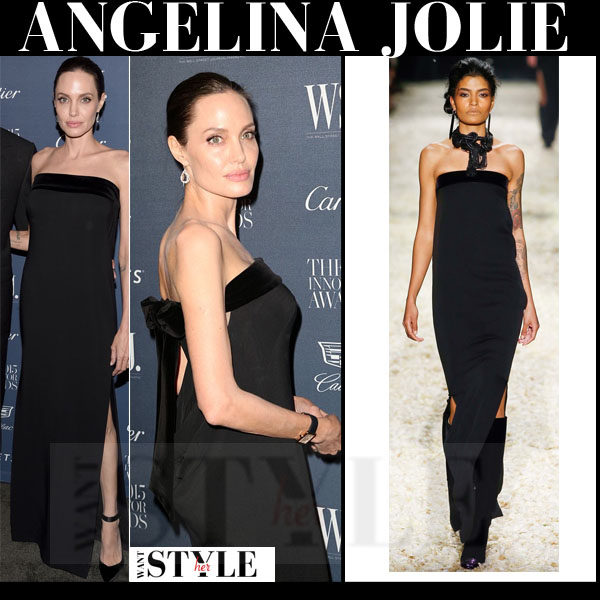 Angelina Jolie in black strapless gown tom ford what she wore red carpet