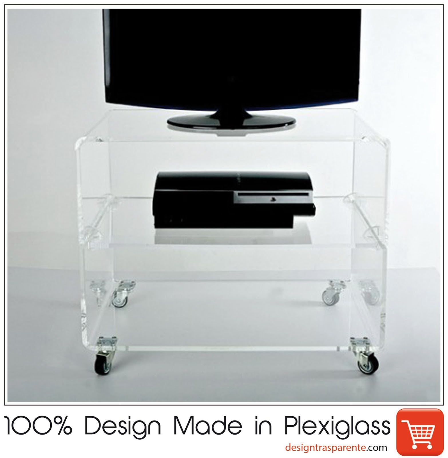 Pillole in plexiglass: Carrello porta Tv design trasparente