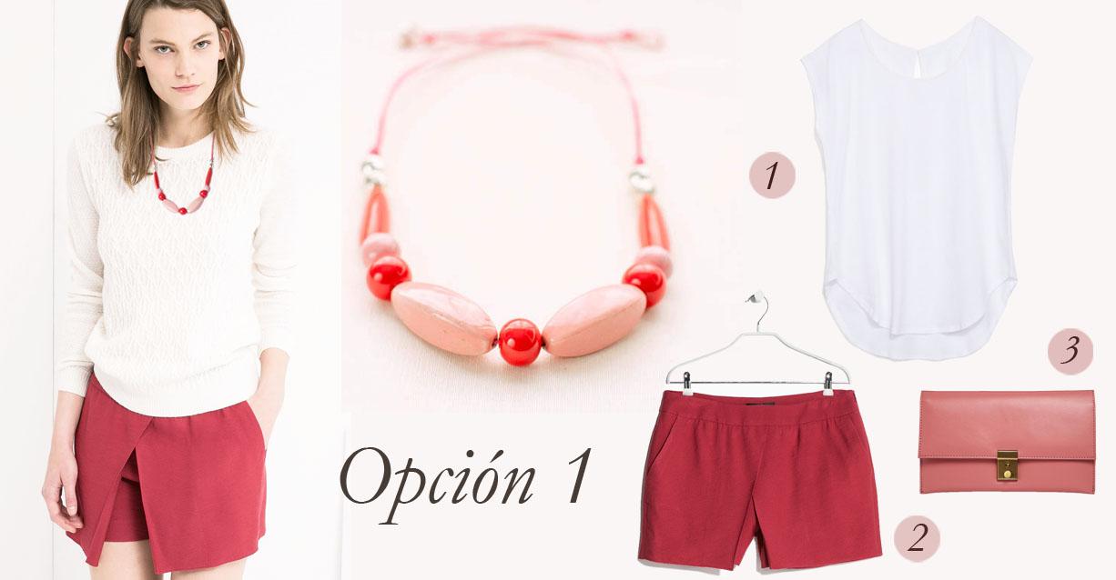 collar rojo y rosa
