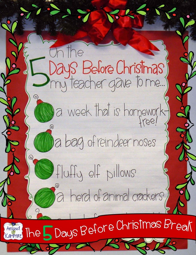 This teacher uses a classroom countdown until Christmas break chart with daily printables and matching student gifts!
