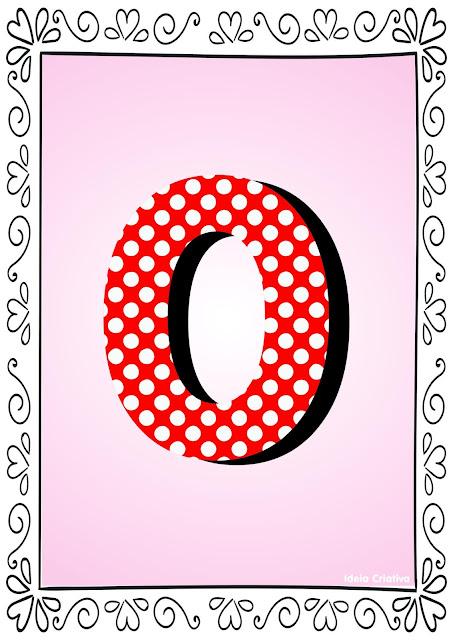 Numerais de Poá colorido com bordas 0