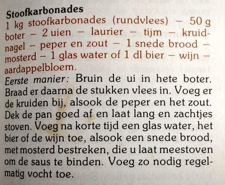 Lekker stoofvlees recept met bier of wijn uit Ons Kookboek van het KVLV