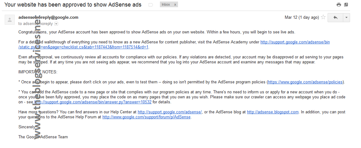 Approved Adsense Upgrade email from hosted adsense upgrade process