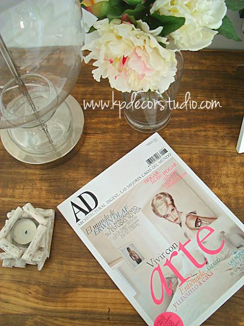 portada AD, decorar con revistas, madera vintage, AD cover, decorate with magazines, vintage wood
