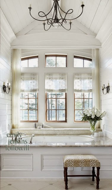 beautiful room - traditional style white master bathroom tile floor