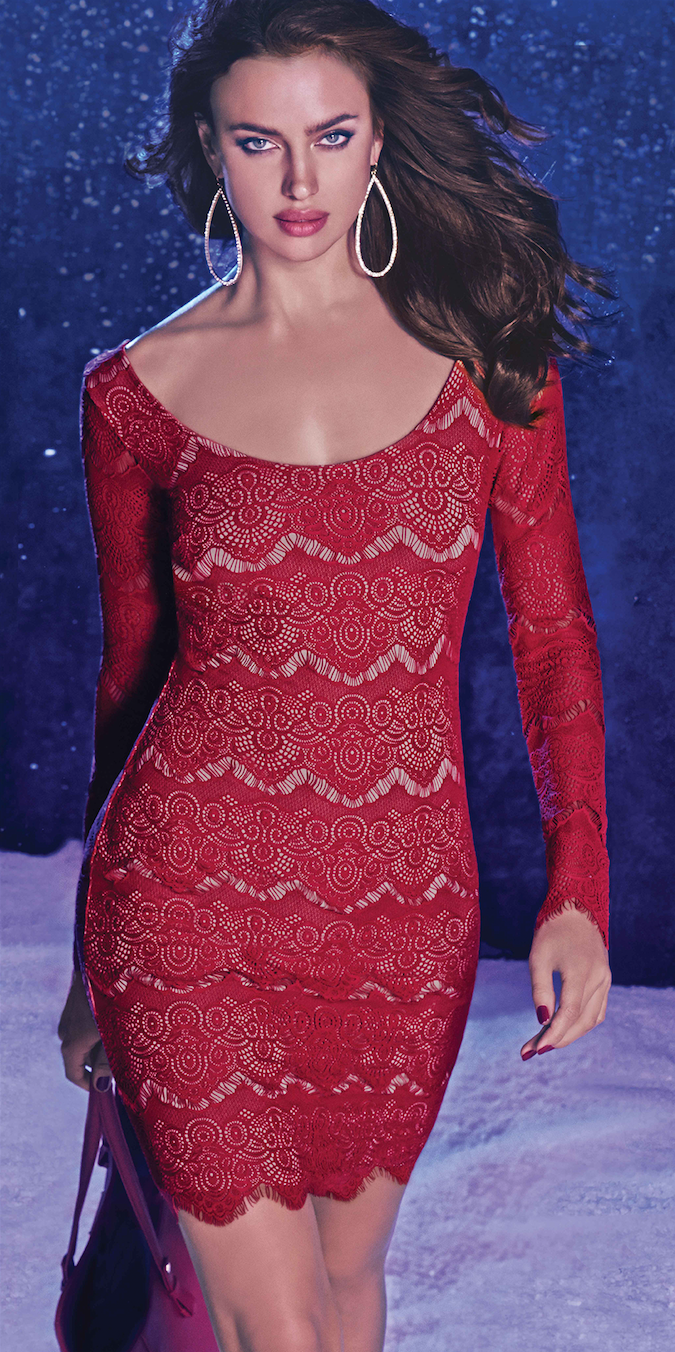 BEBE red Long sleeve lace dress