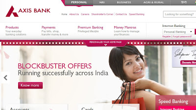 Axis Bank homepage