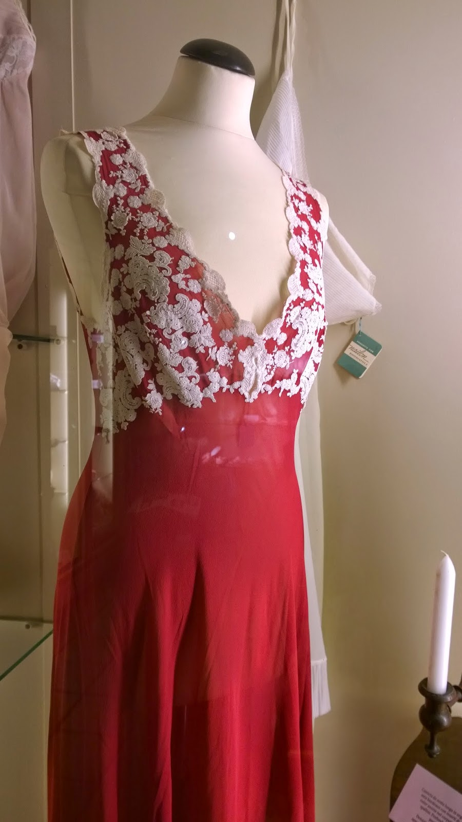 Red night gown with lace applications