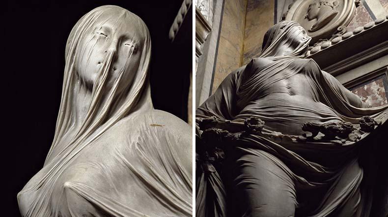 Las figuras veladas tallado en mármol de Antonio Corradini