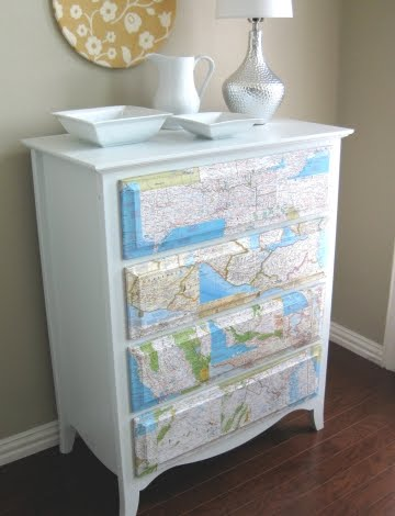 map decoupage dresser