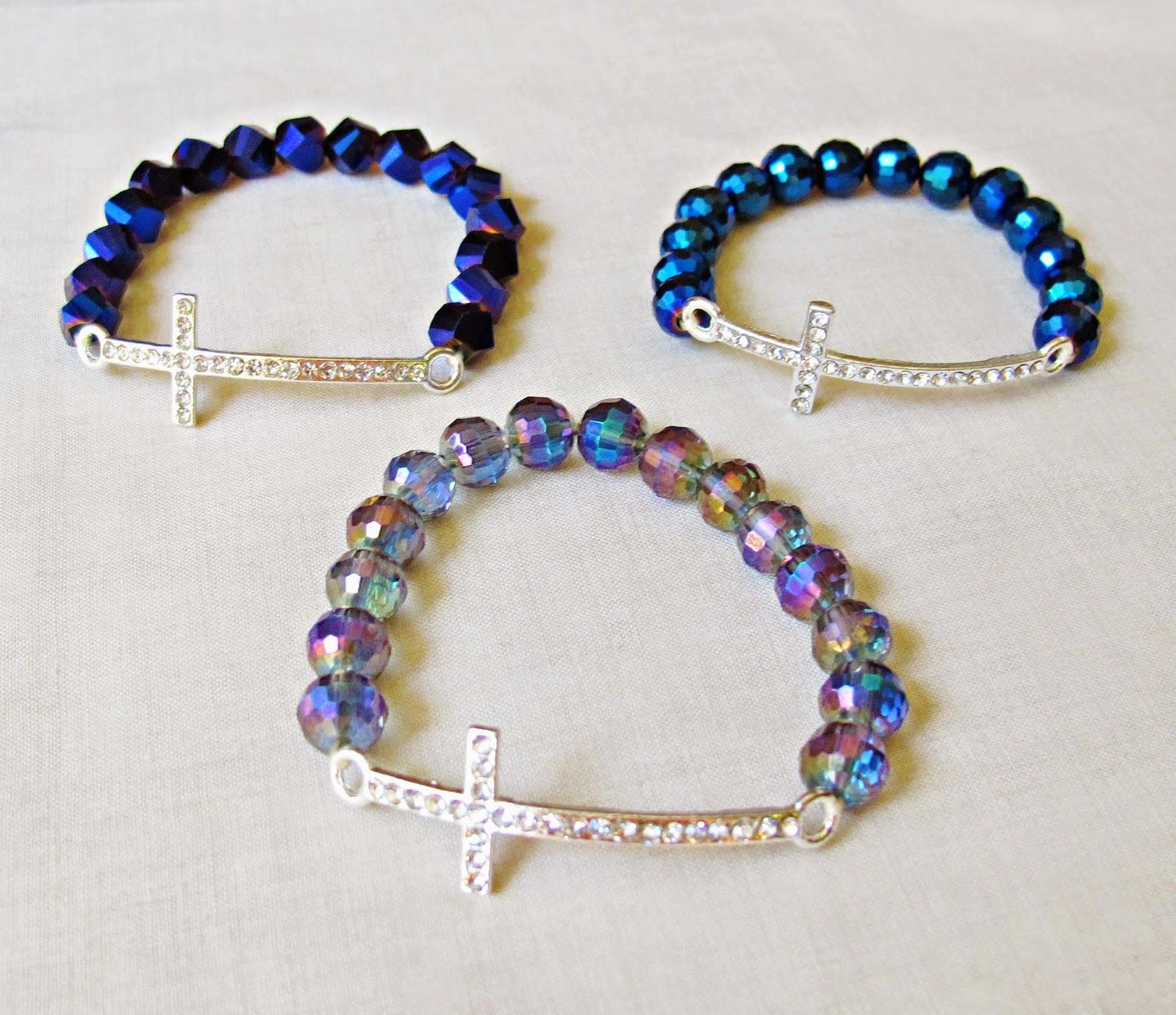 image diy tutorial rhinestone cross bracelet stretch elastic beaded