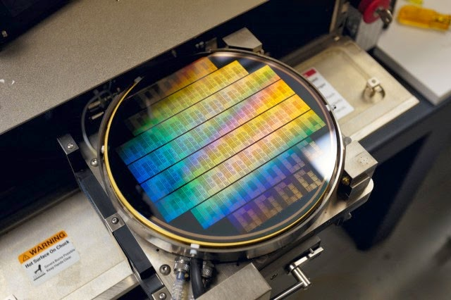 A graphene wafer, being tested at IBM