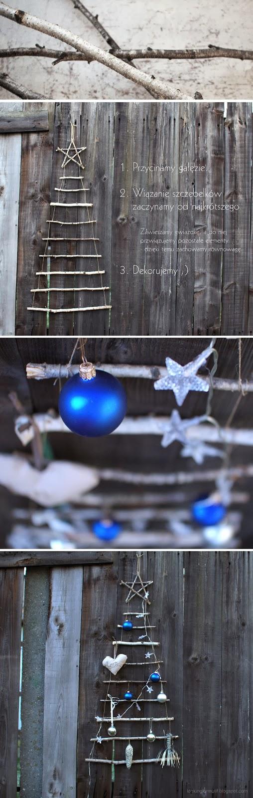 choinka z sosnowych gałęzi, ozdoby na Święta Bożego Narodzenia, jak zrobiś choinkę na święta