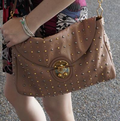 Away From The Blue Miu Miu cammeo studded clutch bag