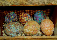 6 PRIM GLITTERED FABRIC WRAPPED  EGGS