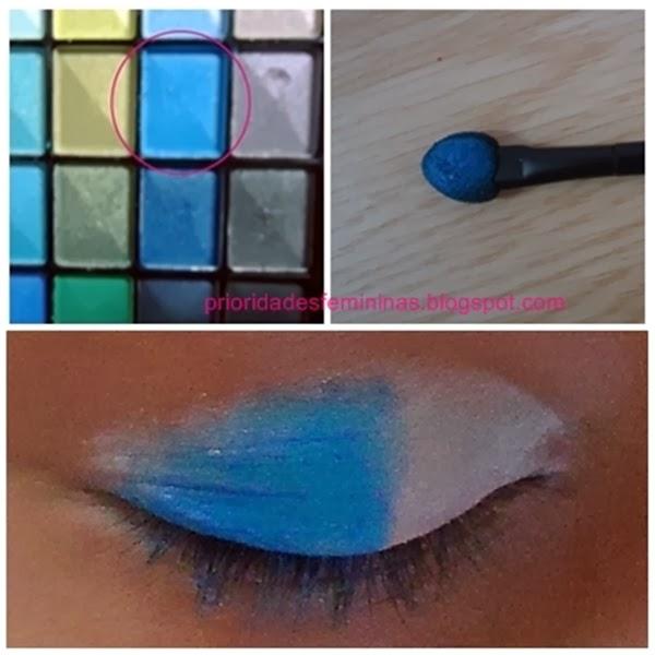 sombra azul clara e branco maquiagem