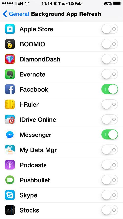 Thiết lập trong iOS 8 để tiết kiệm pin iPhone 9