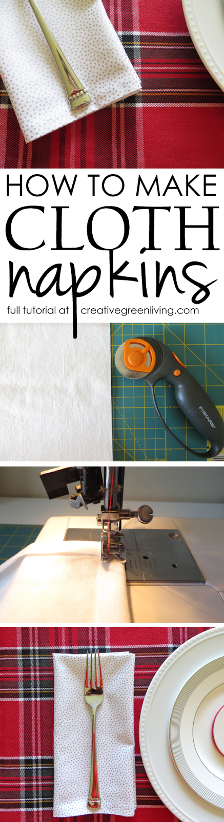 How to make cloth napkins - an easy sewing tutorial from Creative Green Living