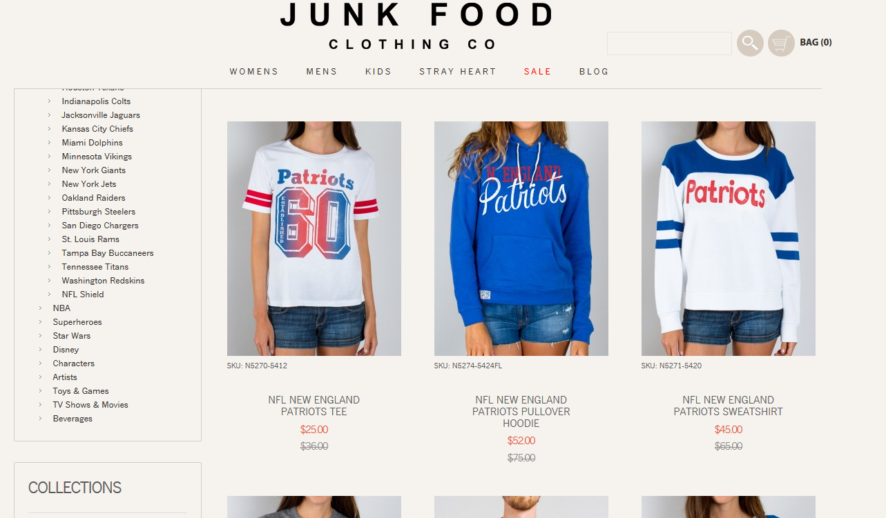 Junk Food Clothing NFL collection