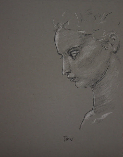 profile, drawing, sarah myers, art, head, woman, face, eyes, mouth, neck, ear, sketch, study, simple, large, grayscale, charcoal, conte, arte, dibujo, classic, figurative, human, pencil