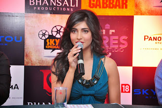 Shruti Han Pictures in Long Dress at Gabbar Game Launch