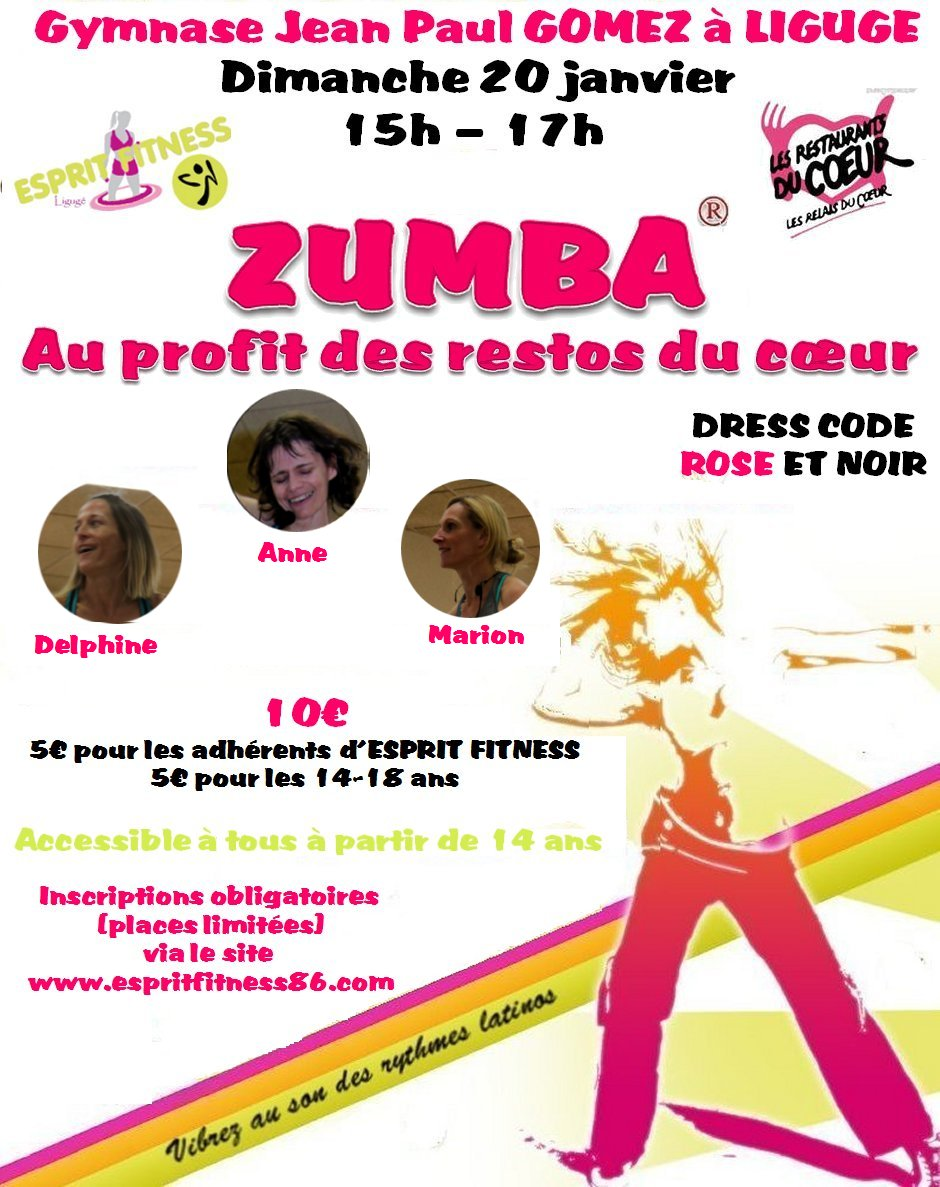 Zumba fit anne poitiers stage de zumba liguge le 20 - Resto du coeur poitiers ...
