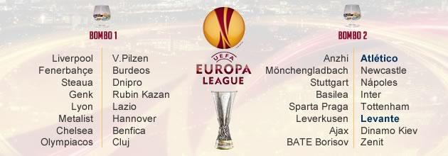Así quedan los bombos de la Europa League