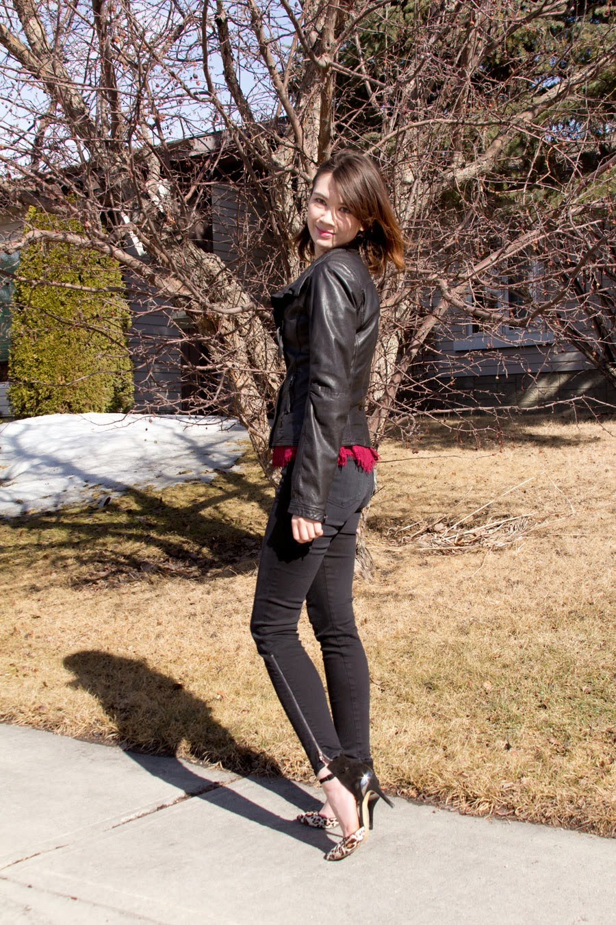J Brand, Enzo Angiolini, leopard shoes, peplum, leather jacket, Danier, Anthropologie, ear cuff