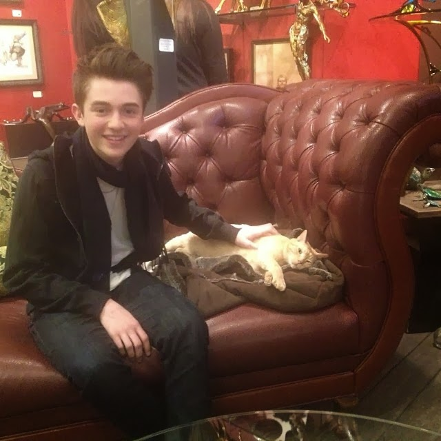 "Greyson Chance with ""Midas"" the Sundance cat - 2014"