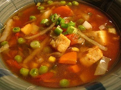Vegetable and Paneer Hot and Sour Soup