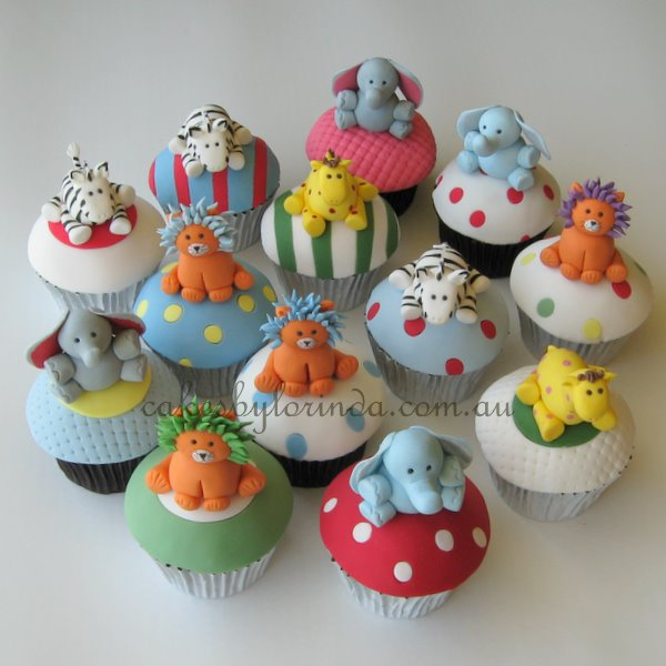 cupcakes con motivos de animales