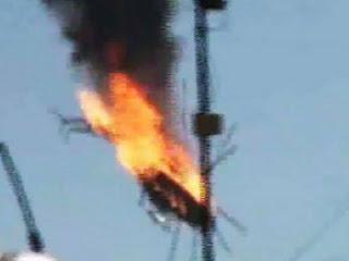 Helikopter rezim Suriah meledak di udara (Foto Aljazeera)