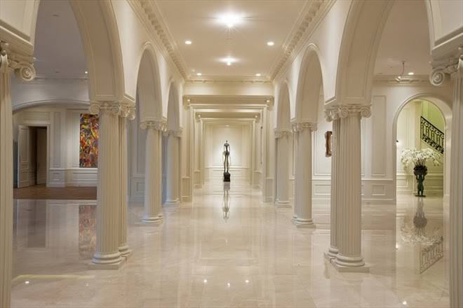 Marble hallway with art display space