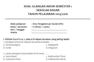 Soal Latihan UAS IPS Semester 1 Kelas 5 SD/MI