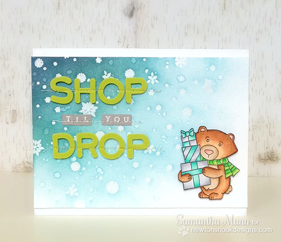 Shop 'til you Drop Bear card by Samantha Mann for Newton's Nook Designs | Winston's Home for Christmas Stamp Set