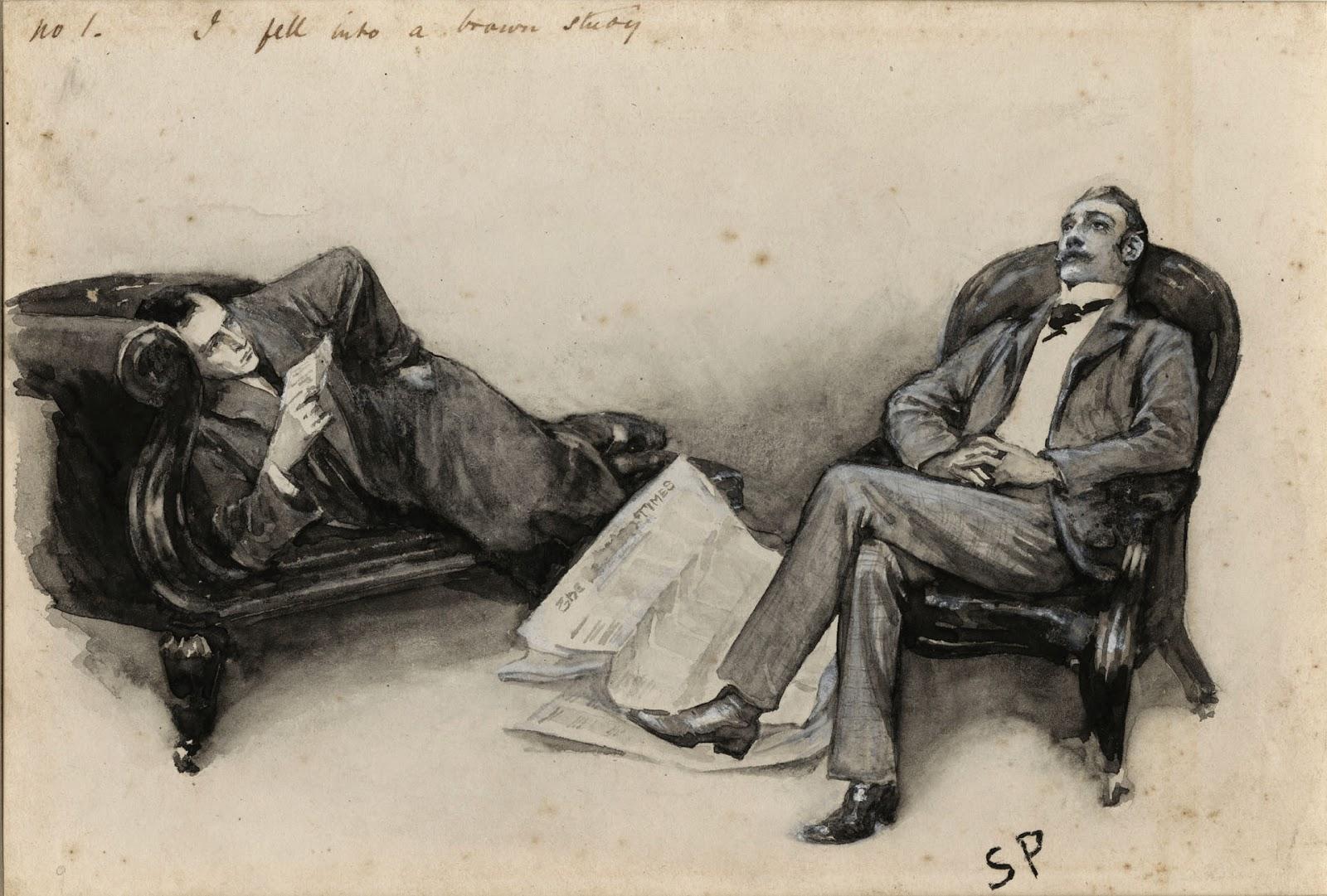 "Watson falling into a ""brown study"" in ""The Cardboard Box"""
