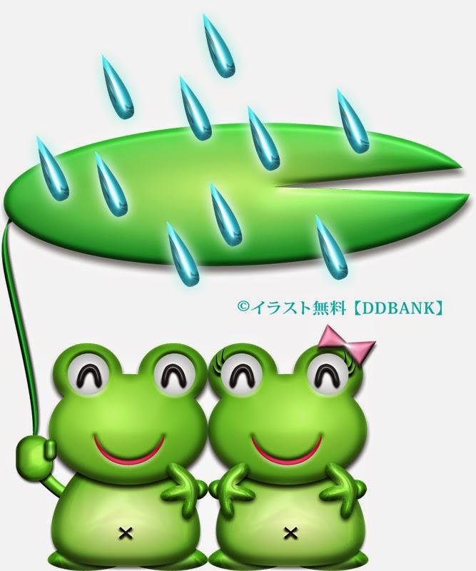 ハスの相合傘を差すカエルの恋人達のイラスト