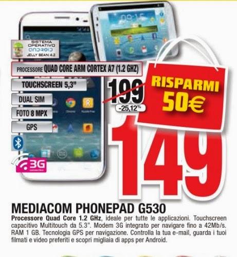 In offerta al miglior prezzo mai visto il phablet dual sim G530 di Mediacom da Comet