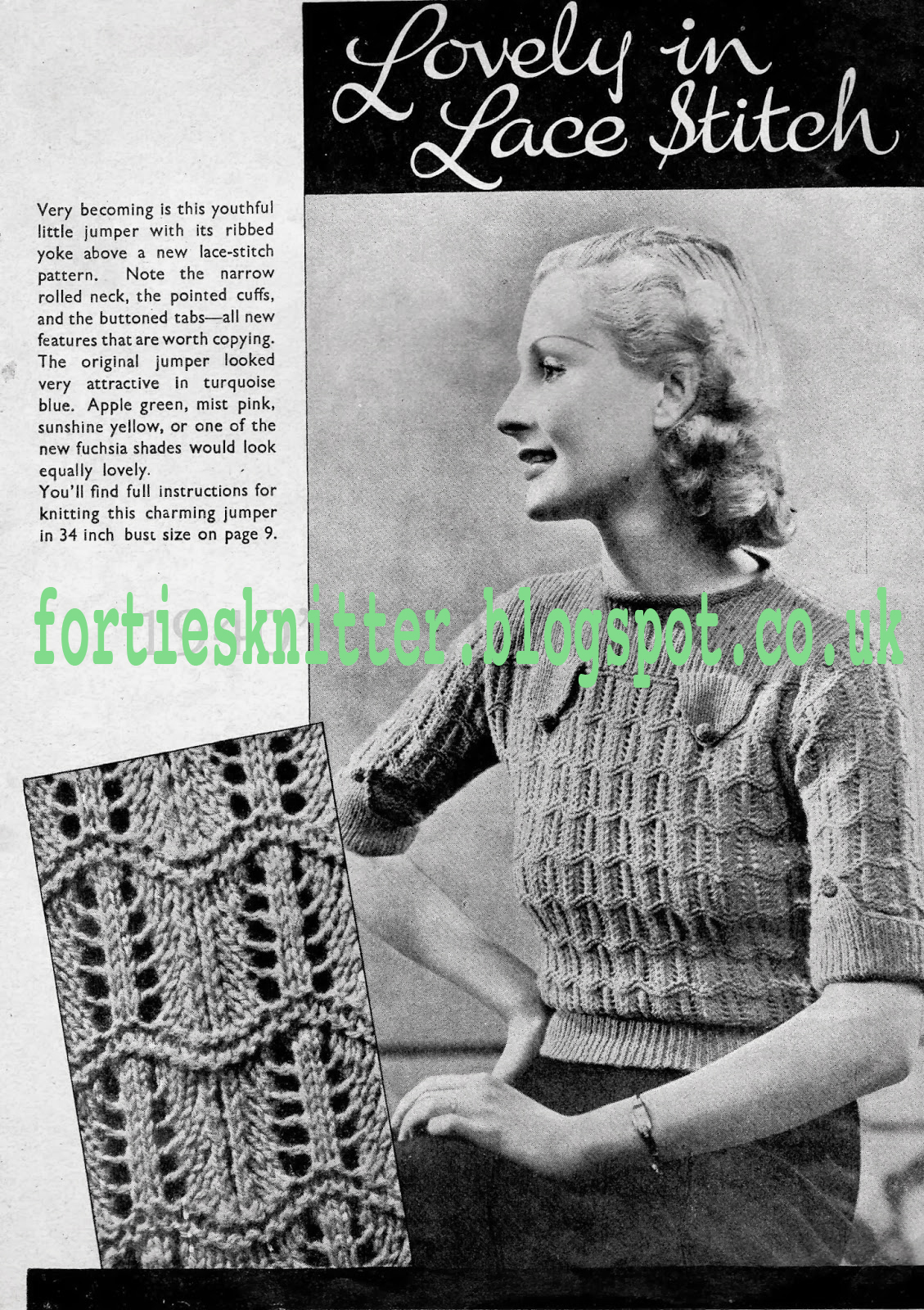 1930'S Knitting - Lovely In Lace Stitch Jumper free pattern
