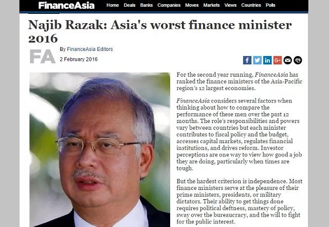 FinanceAsia letakkan Najib Menteri Kewangan tercorot di Asia