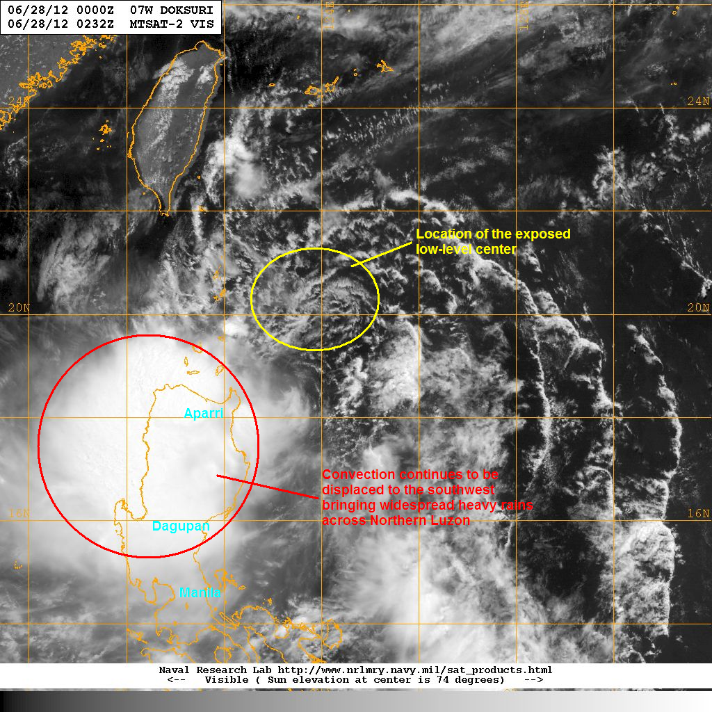 the satellite image above shows the rainclouds associated with doksuri is affecting large parts of luzon the exposed center is also highlighted above