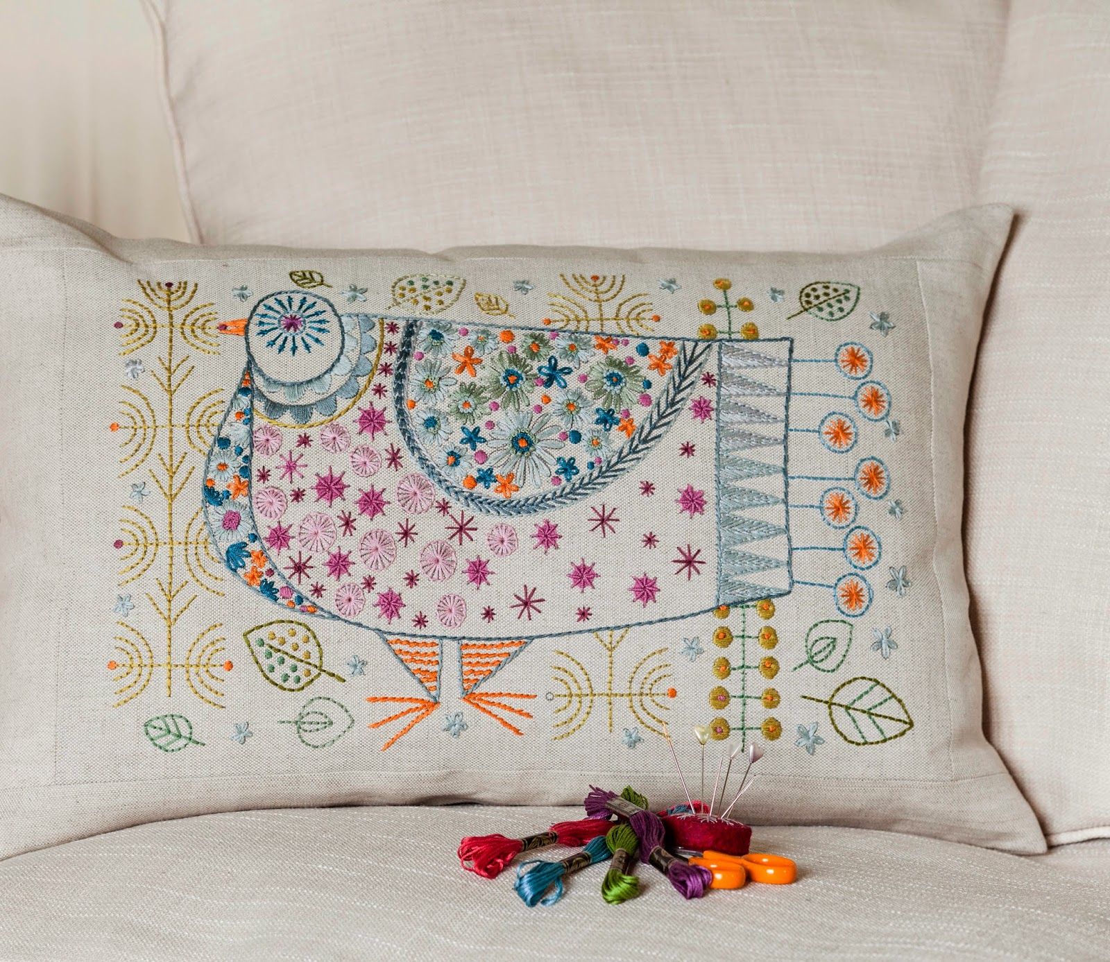 Pigeon Cushion kit by Nancy Nicholson